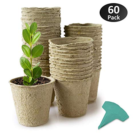 "GROWNEER 60-Pack 3"" Peat Pots Plant Starters for Seedling, Biodegradable Herb Seed Starter Pots Kit, Garden Germination Nursery Pots w/ 15 Pcs Plant Labels"