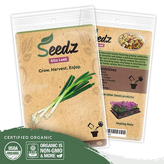 Organic Leek Seeds (APPR. 125) Alto Leek - Heirloom Vegetable Seeds - Certified Organic, Non-GMO, Non Hybrid - USA