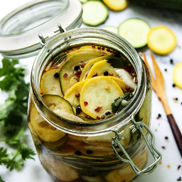 Pickled Squash • Easy Refrigerator Pickles • a farmgirl's dabbles